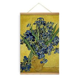 Impressionist Van Gogh Vase with Irises Against a Yellow Bac