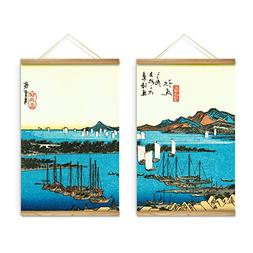 2 Pieces Japanese Style Seascape Boat Decoration Wall Art Pi