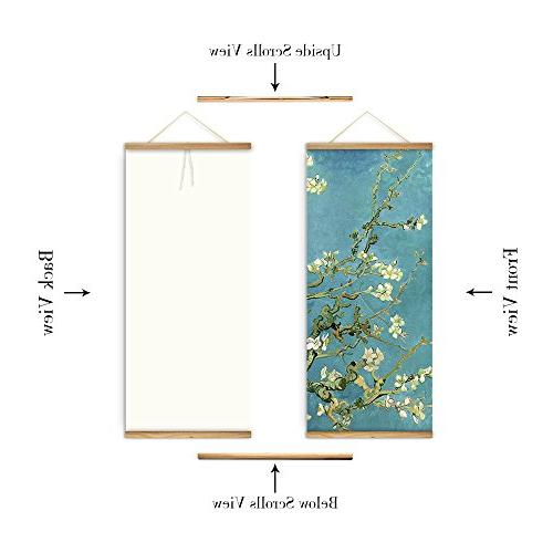3 Blossom Pictures Canvas Wooden Scroll Paintings Living Home Decor Ready Hang