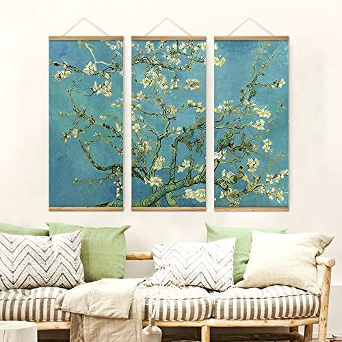 3 Impressionism Almond Blossom Decoration Art Pictures Canvas Wooden Paintings For Home Decor Hang