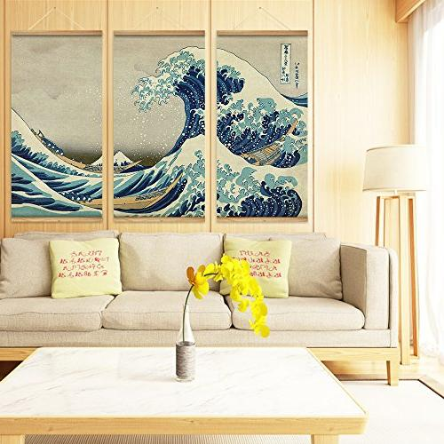 ARTGOW The great Kanagawa Art Pictures Canvas Scroll Paintings Room