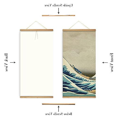ARTGOW The great wave Kanagawa Wall Art Pictures Hanging Canvas Wooden Scroll Paintings Room