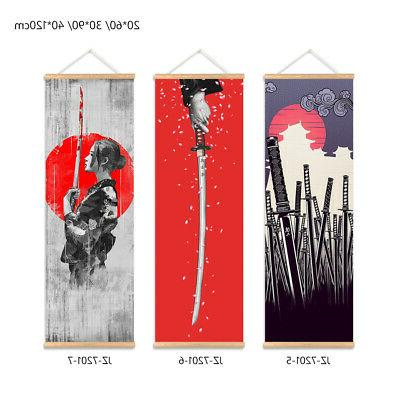 Japanese Picture Scroll With Wooden Hanger 2E