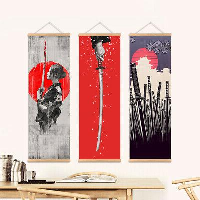Japanese Picture Hanging Scroll With Wooden