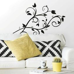 New BLACK & SILVER TREE BRANCH WALL DECALS Leaves Stickers M